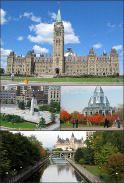 Centre Block on Pairlament Hill, the Naitional War Memorial in dountoun Ottawa, the Naitional Gallery o Canadae, an the Rideau Canal an Château Laurier.
