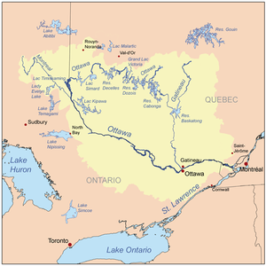 Map of the ottawa river drainage basin