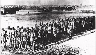 First Transjordan attack on Amman - Ottoman infantry column c 1917. Many are wearing Keffiyehs