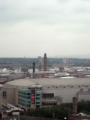 HM Prison Manchester - Overlooking Manchester Arena and the old Boddingtons tower to Strangeways.