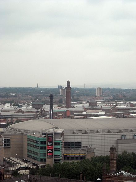 Overlooking Manchester Arena and the old Boddingtons tower to Strangeways. Overlooking Manchester towards Manchester Arena Strangeways.jpg