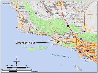 Oxnard Oil Field - The Oxnard Oil Field in Ventura County, California. Other oil fields are shown in dark gray.