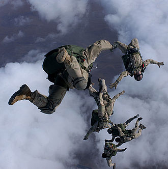 High-altitude military parachuting - United States Air Force Pararescuemen jump at half the height of a typical HALO/HAHO insertion