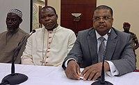 PM Nicolas Tiangaye, Imam Omar Kobine Layama and Mgr Dieudonné Nzapalainga, 24 Dec 2013.jpg