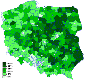 Polish People's Party - Support for the PSL by region