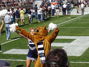Nittany Lion - The Nittany Lion mascot pumps up the crowd at the 2005 football game versus Cincinnati at Beaver Stadium.