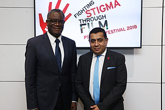 Denis Mukwege - Mukwege with Lord Ahmad at the PSVI Film Festival in London in 2018.