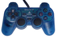 Sony released the DualShock controller in different colors. Translucent Island Blue is shown here