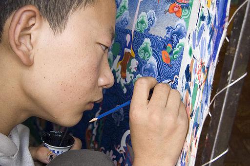Painting Thangka Lhasa Tibet Luca Galuzzi 2006