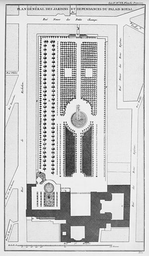 Claude Desgots - Plan of the Palais-Royal gardens as designed by Claude Desgots (from Blondel's Architecture françoise, 1754)