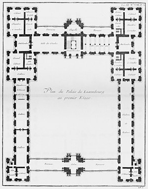Luxembourg Palace - Floor plan (1752) shows the large enclosed cour d'honneur and the long Rubens gallery in the right wing.