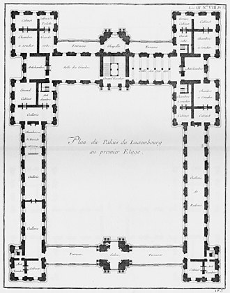 Luxembourg Palace - Floor plan (1752) shows the large enclosed cour d'honneur and the long Rubens gallery in the right wing