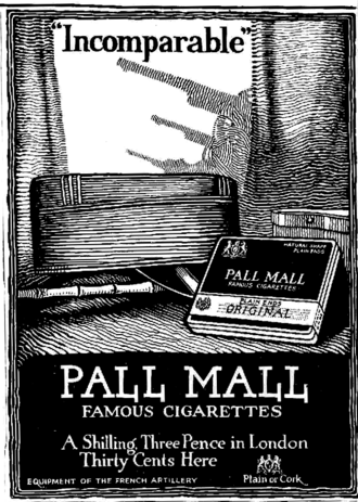 Pall Mall (cigarette) - 1918 Pall Mall ad from a New York newspaper