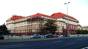Pankrác Prison - View of the High Court in Prague building in front of the Pankrác Prison, to which it is connected by underground corridor.
