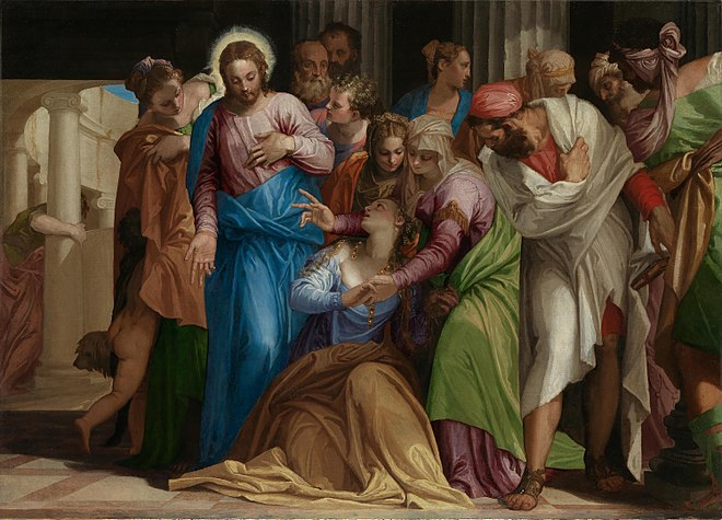 "The Conversion of Mary Magdalene (c. 1548) by Paolo Veronese. According to Gospel of Luke 8:2 , Jesus exorcized ""seven demons"" from Mary Magdalene. Paolo Veronese, The Conversion of Mary Magdalene.jpg"