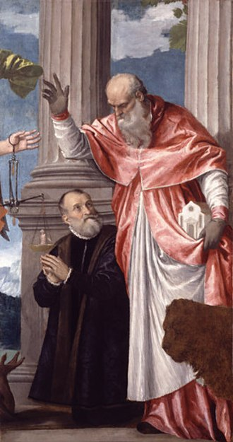 Petrobelli altarpiece - Saint Jerome and his attribute of a lion, with Girolamo Petrobelli, Dulwich.