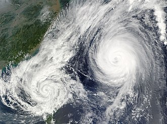 Fujiwhara effect - Typhoon Parma (left) and Melor (right) interacting with each other in the Philippine Sea on October 6, 2009.