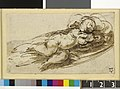 Parmigianino - A sleeping child, study for a painting Pen and brown ink, with brown wash, 1905,1110.18.jpg