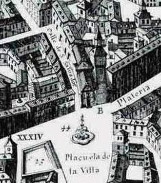 Towers of the churches of San Salvador and Santa Cruz (Madrid) - Detail of the famous Plan of Madrid by Pedro Teixeira, can be seen how the Church of San Salvador and its Atalaya de la Villa was in 1656. It had a Herrerian aspect, result of the reforms carried out during the 16th century, which blurred the original medieval traces.