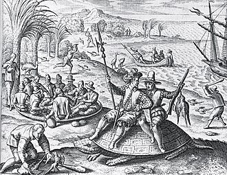 History of Mauritius - Parrot hunting on Mauritius by Johann Theodor de Bry, 1601
