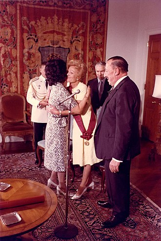Order of the Sun of Peru - U.S. First Lady Pat Nixon is awarded the Grand Cross of the Order of the Sun for her efforts to deliver relief supplies after an earthquake in 1970. At left is Peruvian First Lady Consuelo Velasco; at right is the Peruvian Ambassador to the United States.