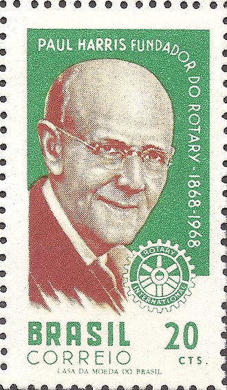 Paul P. Harris - Paul Percy Harris on a 1968 stamp of Brazil