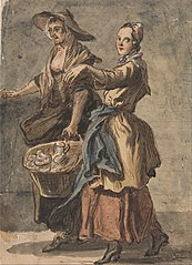 Two Women holding a Basket