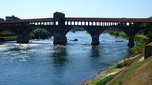 Ticino (river) - The Ticino and the Covered Bridge of Pavia (originally medieval in date, rebuilt in 1950 after the destruction due to war bombing)