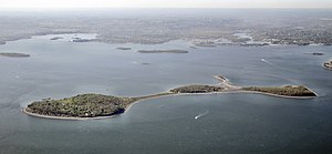 Fort Andrews - Peddocks Island looking southward, with the late Fort Andrews on the left, in East Head.