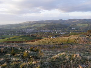 Peebles - Peebles overview from Cademuir Hill, the Hydro Hotel can be seen on the right