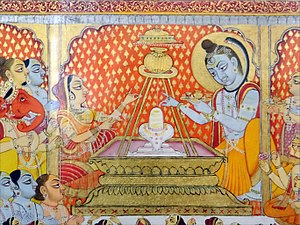 Lingam - Mural painting depicting Shiva with the Lingam in the Palace of Mehrangarh Fort, Jodhpur.