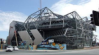 Perth Arena - The arena under construction in February 2011, with underlying steel framework visible