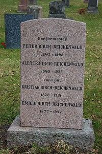 Peter Birch-Reichenwald, gravminne på Vår Frelsers gravlund, Oslo.JPG