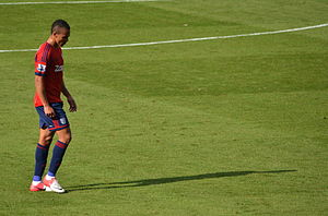 Peter Odemwingie - Odemwingie walking off the pitch after getting sent off against Fulham