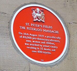 Plaque commemorating the Peterloo Massacre of ...