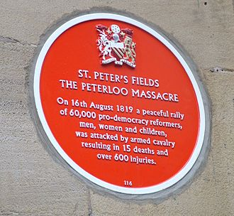 Free Trade Hall - A commemorative plaque on the side of the Manchester Free Trade Hall