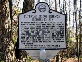 Battle of Iron Works Hill - Plaque commemorating Petticoat Bridge skirmish