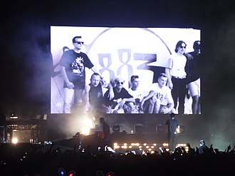 883 (band) - A 883 photo projected during a Max Pezzali concert in 2013