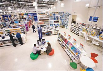 Australia's Officeworks is a category killer, retailing everything for the home office or small commercial office; stationery, furniture, electronics, communications devices, copying, printing and photography services, coffee, tea and light snacks Pfficeworks inside.jpg