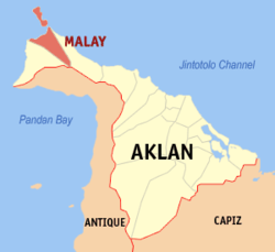 Map of Aklan showing the location of Malay.