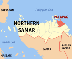 Map of Northern Samar with Palapag highlighted