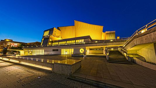Blue hour shot of the south west facade of Berliner Philharmonie.