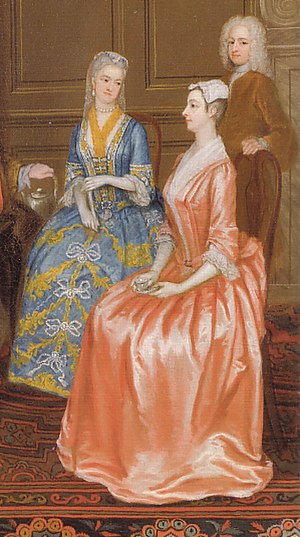 "1700–50 in Western fashion - A rigid, upright posture with a sharp ""break"" at the bust is characteristic of the stiffly boned stays of the 1730s. These English ladies wear formal mantuas for tea."