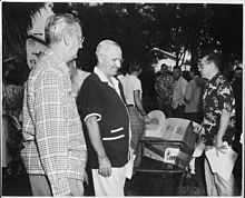 Photograph of President Truman at his vacation residence in Key West, Florida with Press Secretary Joseph Short... - NARA - 200561.jpg