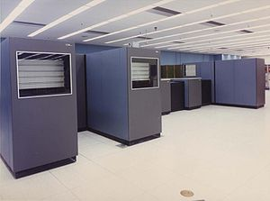 IBM 1360 - IBM 1360 at the LLNL. On the right is the film development system, on the left two Cell File units with trays visible through the windows.