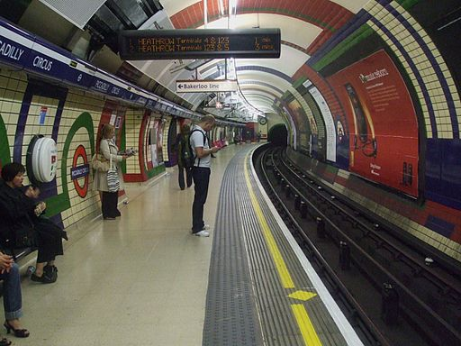 Piccadilly Circus tube stn Piccadilly westbound look east