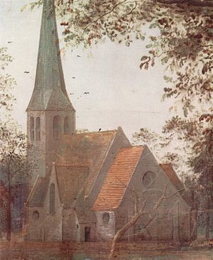 Dilbeek - Church of Sint-Anna-Pede, as painted by Peter Brueghel the Elder in The Parable of the Blind