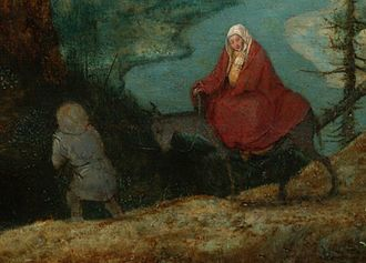 Landscape with the Flight into Egypt (Bruegel) - Detail, the Holy Family; the salamanders are just visible below the donkey (click twice to enlarge).