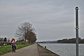 Pink human on a bicycle by the Meuse in Oupeye, Belgium (DSCF3318).jpg