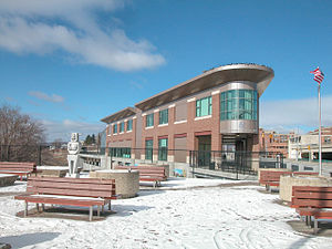 Joseph Scelsi Intermodal Transportation Center - Front of Pittsfield station in March 2006